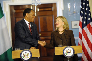 Secretary Clinton Shakes Hands With Nigerian Foreign Minister Henry Odein Ajumogobia
