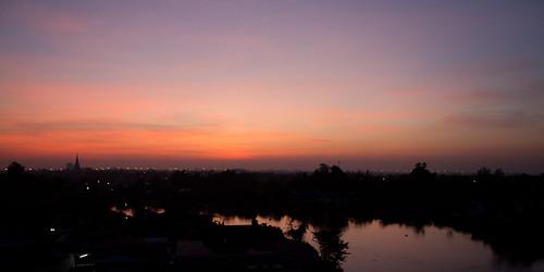 sunrise river thailand horizon ayutthaya