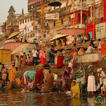 Morning Puja (Prayer) Along the Ganges River - Varanasi, India