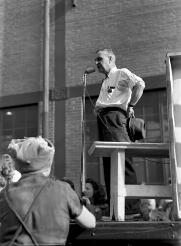 Midvale Company's third war bond rally. Speaker with medal at a microphone addressing rally crowd, September 28, 1943