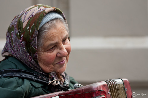 Old woman and accordion