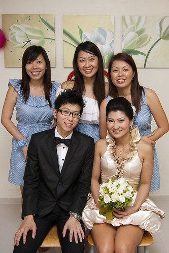 The bridesmaids with the wedding couple - Derrick & Cherie