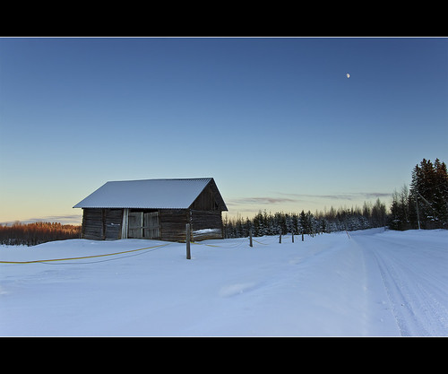road trees winter sky moon snow cold barn fence suomi finland landscape countryside afternoon freezing explore talvi countryroad lappeenranta