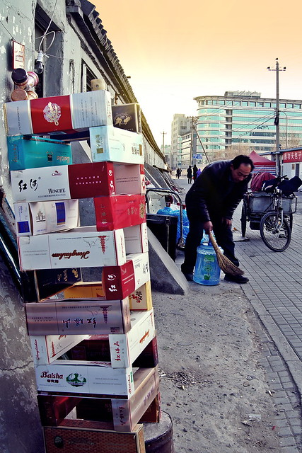 Cartons in front of a shop