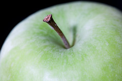 macro photography, green, fruit, food, close-up, granny smith, apple,