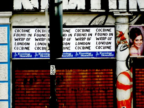 "COCAINE FOUND IN WRAP OF LONDON COCAINE, parodical ""Evening Standrd"" poster, Hackney, London, UK.jpg.JPG"