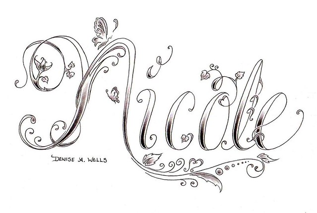 name design tattoos for girls. Another custom tattoo name design including script lettering with my