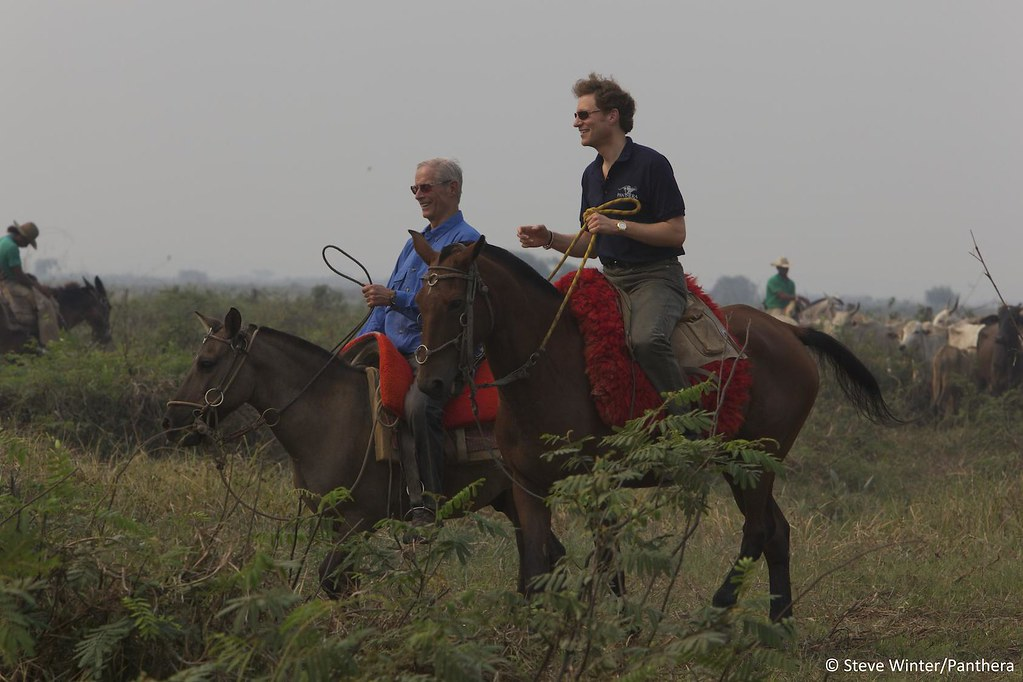 Dr. Thomas Kaplan and Bob Simon on horseback