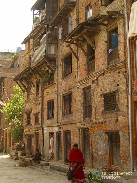 Walking Down a Street in  Bhaktapur, Nepal