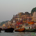 Boats at Dawn Along the Ganges River - Varanasi, India