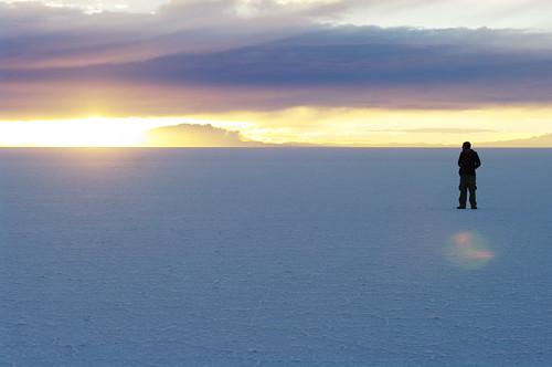 sky white man clouds sunrise dawn salt bolivia overlook viewpoint plain salar uyuni salardeuyuni