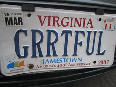 "An image of a Virginia vanity license plate that reads ""Grrtful"""