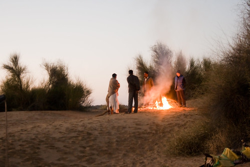 early morning desert bonfire  At Khuri By DraconianRain