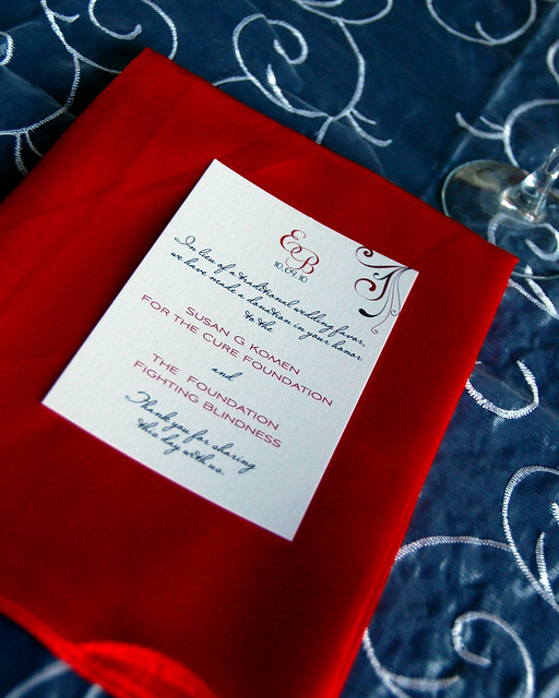 Menu card on napkin for wedding reception