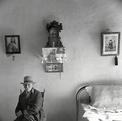 Grandfather Romero, a member of the family of Juan Lopez, the majordomo, is ninety-nine years old, Trampas, NM, by John Collier 1943