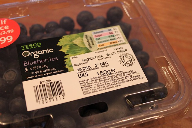 Argentinean Blueberries, sold in Yorkshire, in December