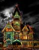 Carson mansion christmas lights, 2010 by David Safier - redwoodimage