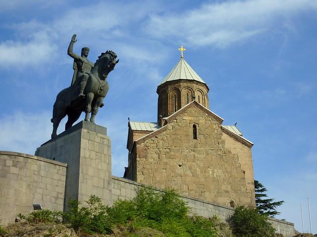 The Metekhi Church and King Vakhtang Gorgasal (Tbilisi, Georgia)