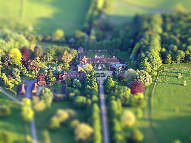 Tilt Shift Taken From Balloon of Large House