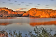 Golden Light on Canyon Lake and Four Peaks