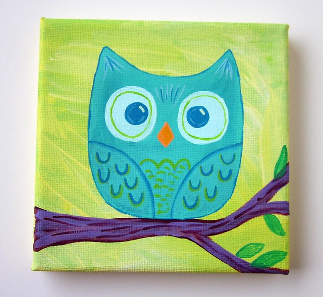 Mini Teal Owl Original Painting 5x5 Canvas | Etsy Update ...