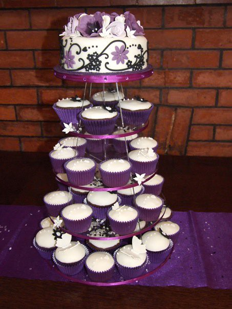 Blackpurple and ivory cupcake and wedding cake tower