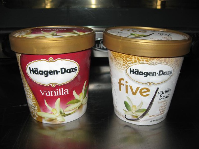 Haagen Dazs - Vanilla and vanilla bean five (old and new packaging) 1 ...