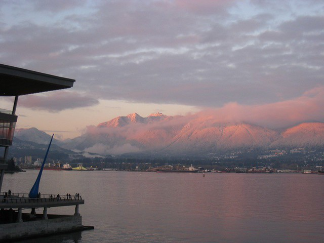 Convention Centre West & snowy mountains (sunset)