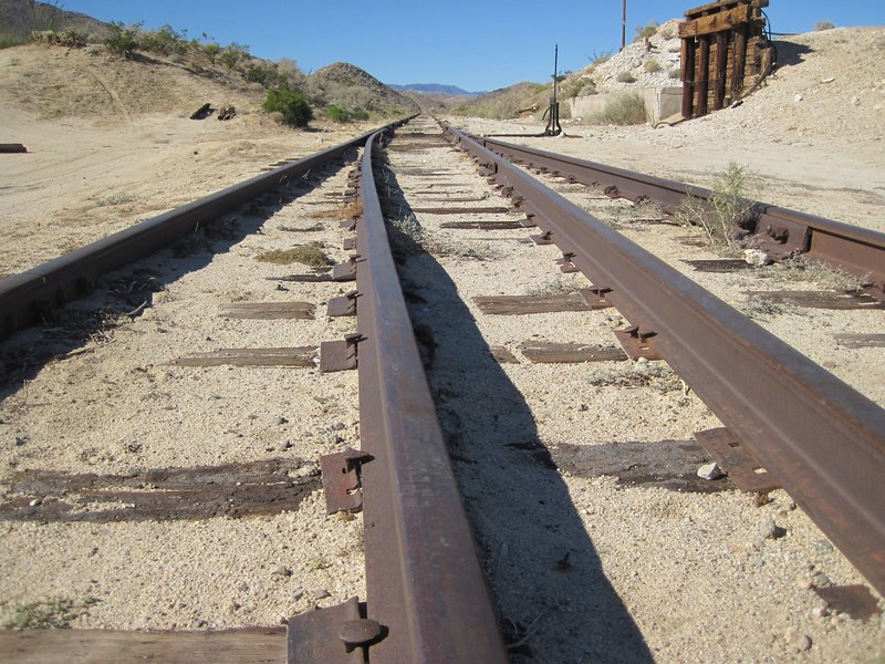 Tracks at the siding switch near the Dos Cabezas Water Tank