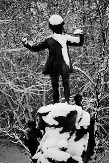Image of Peter Pan Statue. greatbritain winter england blackandwhite snow cold london statue europe seasons unitedkingdom peterpan kensingtongardens europeanunion cityofwestminster winter2010