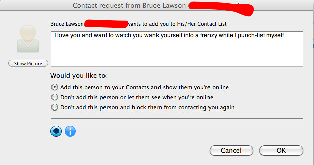 Contact request from Bruce Lawson