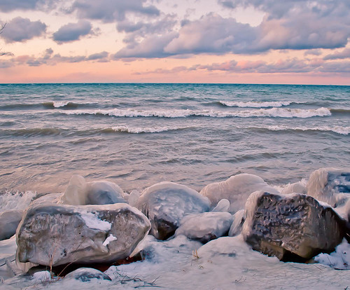 park winter sunset sun lake ontario canada cold ice water clouds landscape rocks pastels stcatharines lakeontario louth charlesdaleypark