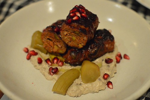 Chic Pea: Beef & pistachio kofta on charcoal with baba ghanouj & pickles