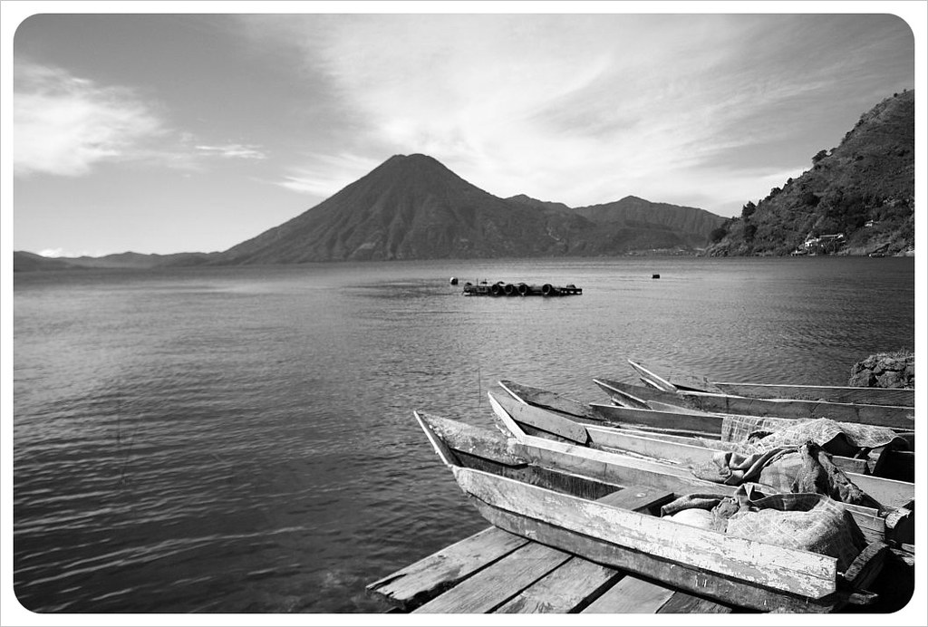 Jaibalito boats and volcano san pedro bw