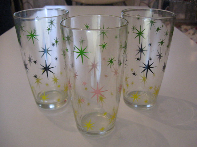 Vintage atomic starburst glasses flickr photo sharing - Starburst glassware ...