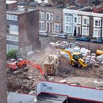 dust rising due to concrete crushing