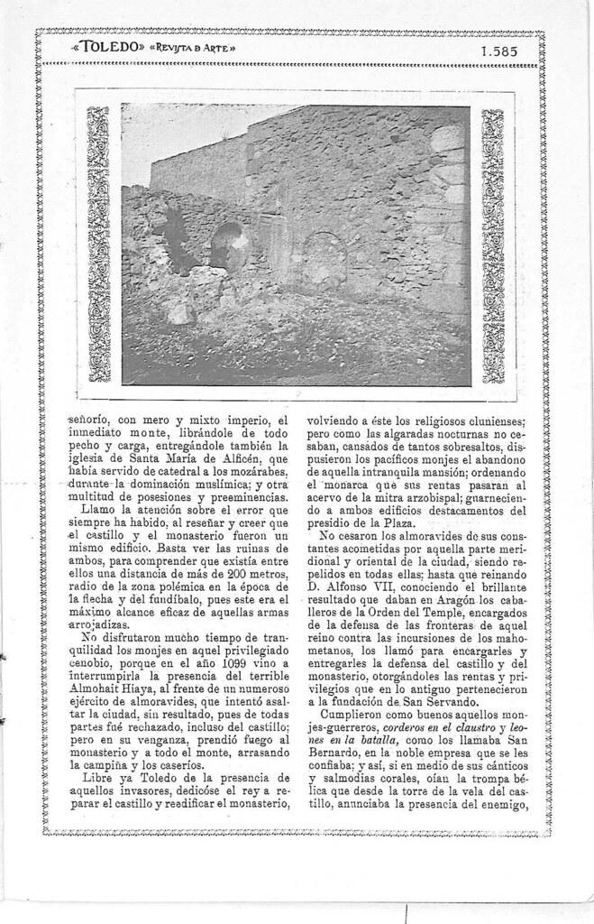 Reportaje sobre los restos del antiguo monasterio de San Servando en Toledo. Reportaje publicado en enero de 1927 en la Revista Toledo. Pág 2