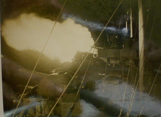 THE PACIFIC WAR: Eight-inch night fire by HMAS SHROPSHIRE - Collection of Alan Meade, RAN 1843-1946.