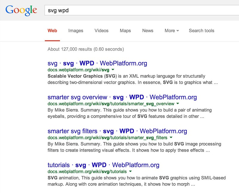 search on web platform docs