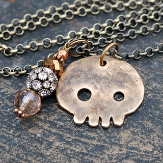Bronze Skull Pendant Necklace