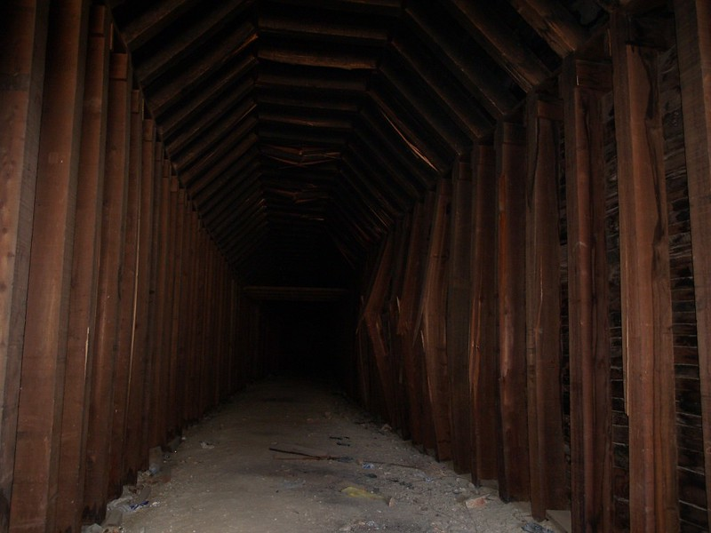 Inside the original Tunnel 15 - the southern end. Notice the damaged, bulging timbers.