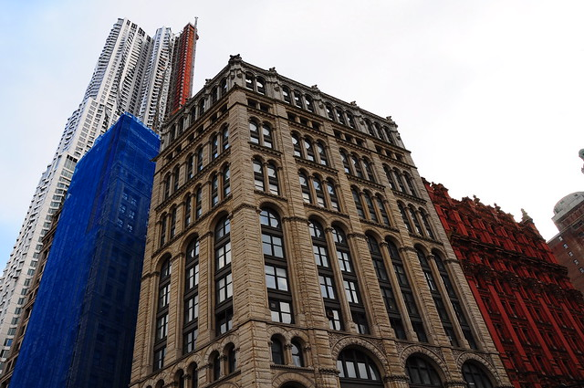 New York City New York NYC Street streets Buidling buildings architecture architect architectural Broadway glass refection Woolworth Building