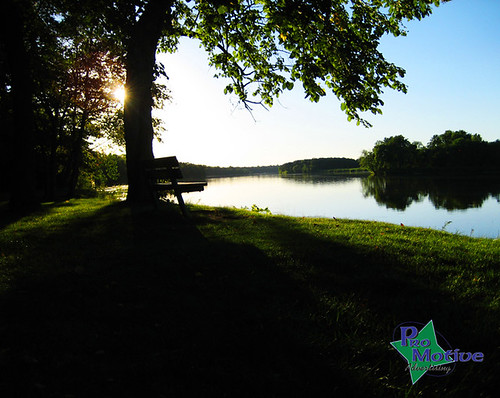 park sunset tree water river bench
