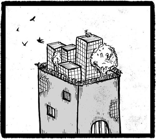 Ilustración: grandes edificios encima de grandes edificios