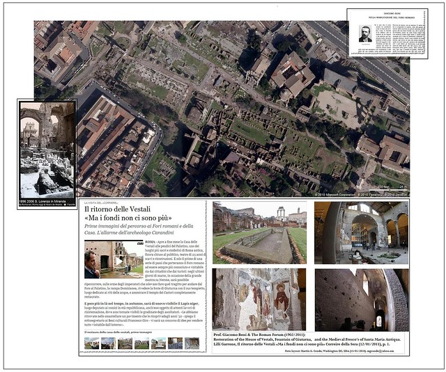 Prof. Giacomo Boni & The Roman Forum (1902/2011): Restoration of the House of Vestals, Fountain of Giutarna, and the Medieval Fresco's of Santa Maria Antiqua, & Corriere della Sera (12/01/2011), p. 1.