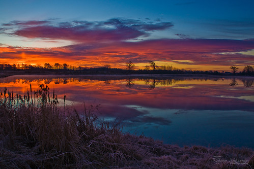 red lake water clouds sunrise pond frost cattail a850