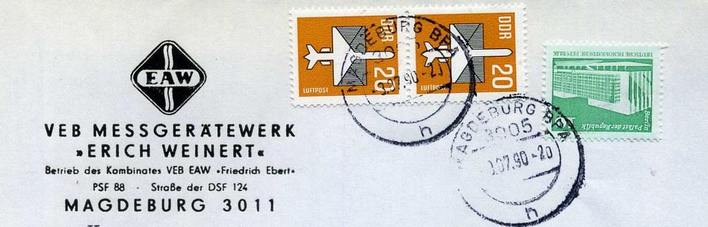 """VEB  Messgerätewerk   Erich Weinert"""" Magdeburg.  Brief 3 Juli  1990, DDR."""