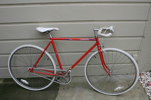 found red peugeot fixie bicycle yo venice. Black Bedroom Furniture Sets. Home Design Ideas