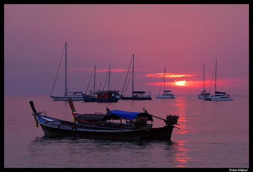 ocean pink sea sun thailand d200 longtailboat 2010 andamansea sailship kolipe kohlipe