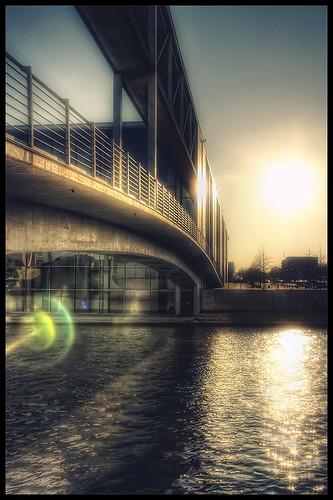 bridge sunset building berlin water river paul haus spree regierungsviertel löbe